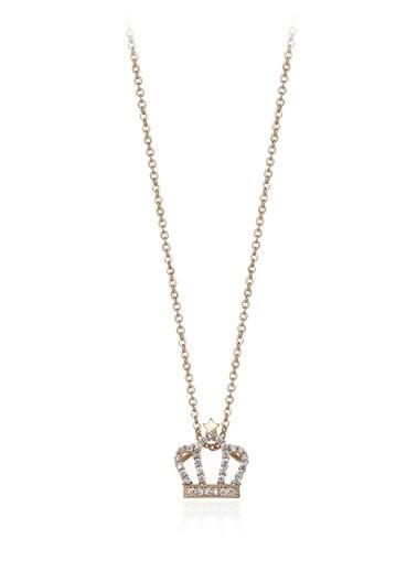 0,30 Ct Pırlanta Efekt Altın Queen Star Sarı Kolye-Tophills Diamond Co.